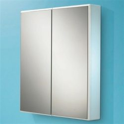 HiB - Jersey Double Door Slimline Cabinet 65 x 70 x 10.5cm - High Gloss White