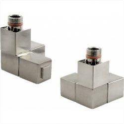 Zehnder - Square Head Brushed Steel Double Angled Valve Set - Brushed Steel