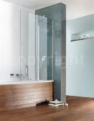 Crosswater - Design Semi Frameless Double Bath Screen - Silver