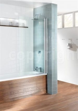 Crosswater - Design Semi Frameless Single Bath Screen - Silver