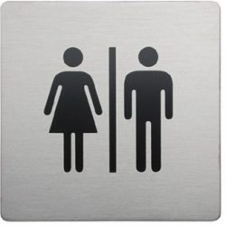 Bathroom Origins - Urban Steel Sign Square - Male/Female - Brushed
