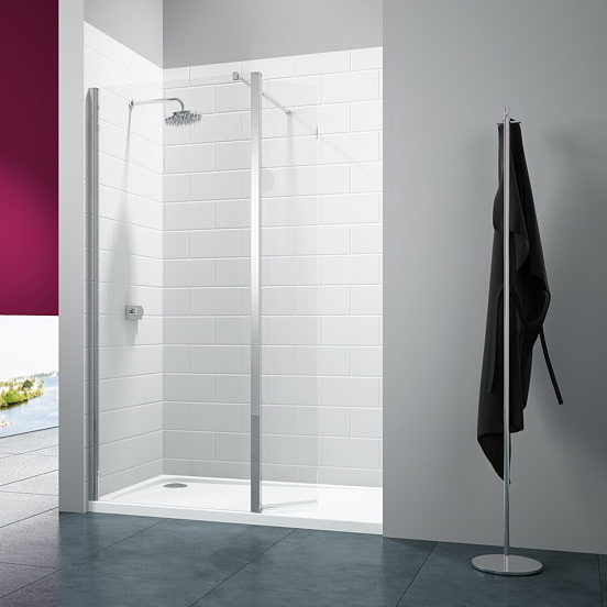 Merlyn - 8 Series Glass Showerwall with Swivel Panel