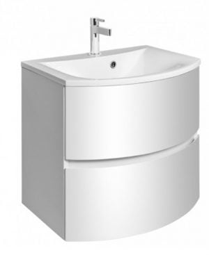 Crosswater - Svelte 600mm Vanity Basin No Tap Hole - White