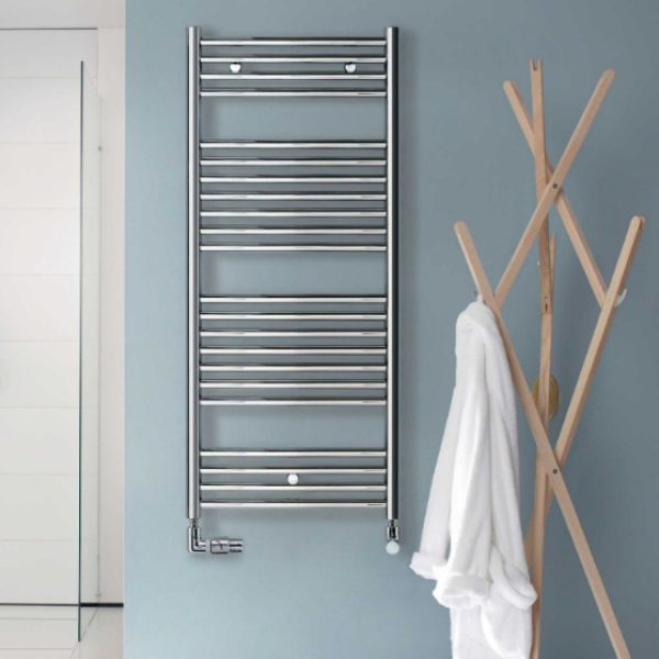 EX STOCK Zehnder - Aura Straight Electric Towel Rail Chrome 810mm Height  X 400mm Width