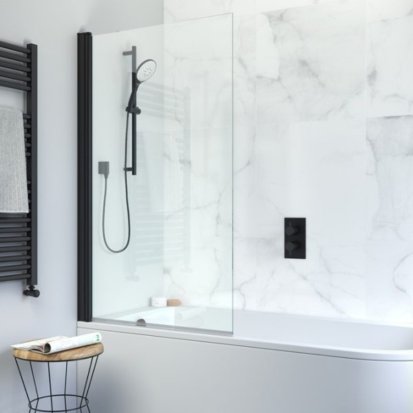Crosswater - Design Single Bath Screen, Matt Black