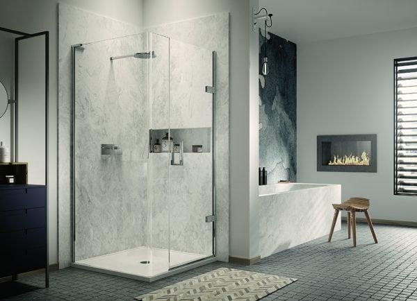 Matki - New Eauzone Plus Hinged Shower Door with Radius 20 Panel For Corner